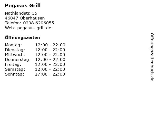 Pegasus Grill in Oberhausen: Adresse und Öffnungszeiten