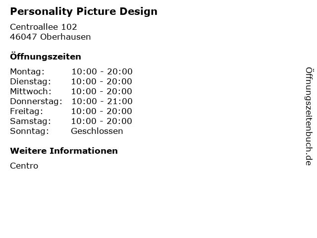 Personality Picture Design in Oberhausen: Adresse und Öffnungszeiten