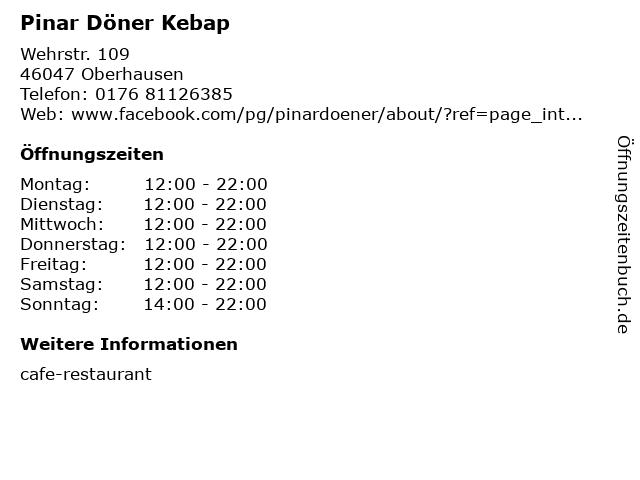 Pinar Döner Kebap in Oberhausen: Adresse und Öffnungszeiten