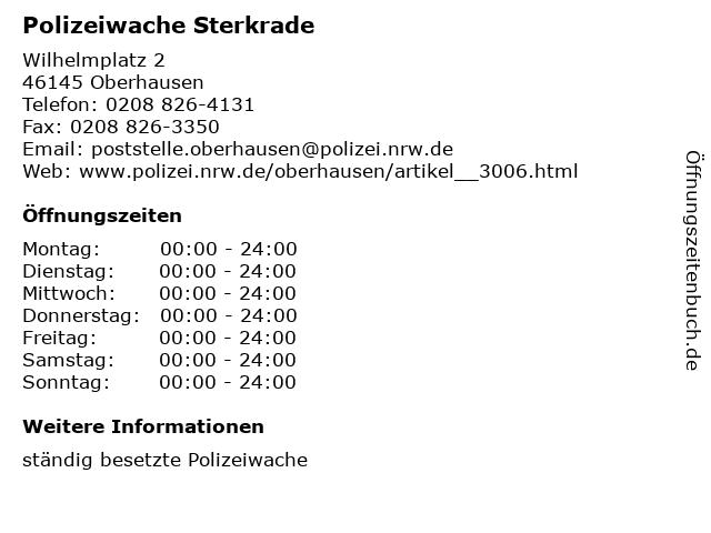 Polizeiwache Sterkrade in Oberhausen: Adresse und Öffnungszeiten