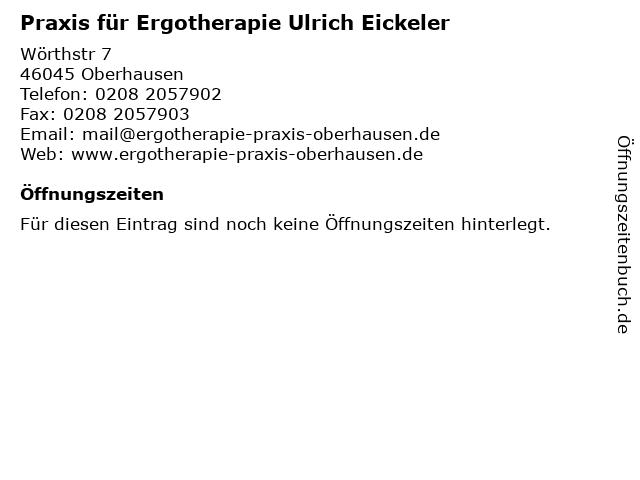 Praxis für Ergotherapie Ulrich Eickeler in Oberhausen: Adresse und Öffnungszeiten