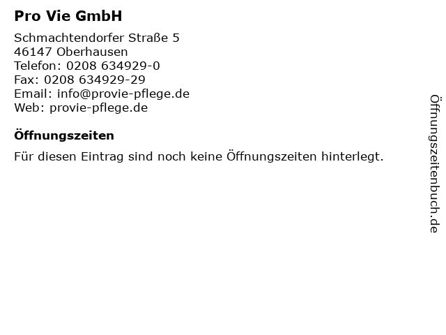 Pro Vie GmbH in Oberhausen: Adresse und Öffnungszeiten