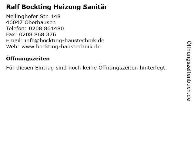 Ralf Bockting Heizung Sanitär in Oberhausen: Adresse und Öffnungszeiten