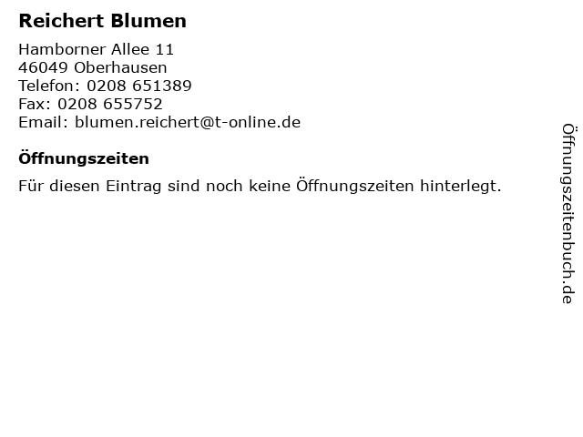 Reichert Blumen in Oberhausen: Adresse und Öffnungszeiten