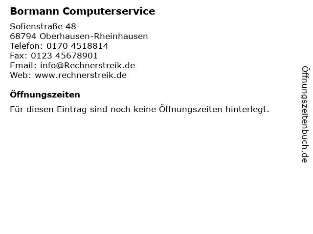 Bormann Computerservice in Oberhausen-Rheinhausen: Adresse und Öffnungszeiten