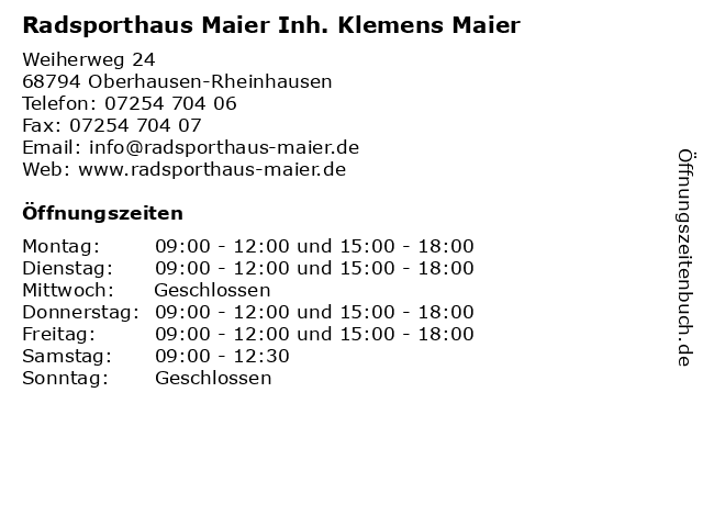 """Vereinigte Staaten wie man bestellt hohe Qualität ᐅ Öffnungszeiten """"Radsporthaus Maier Inh. Klemens Maier ..."""