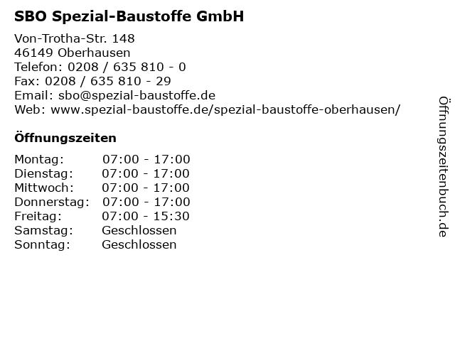 SBO Spezial-Baustoffe GmbH in Oberhausen: Adresse und Öffnungszeiten