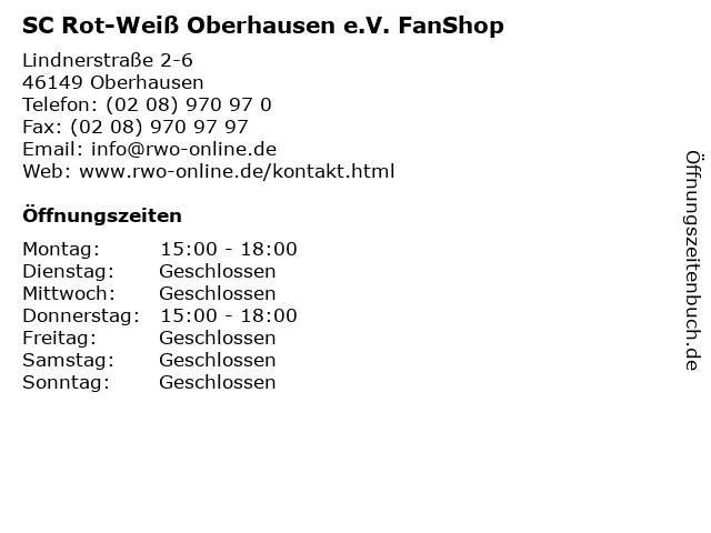SC Rot-Weiß Oberhausen e.V. FanShop in Oberhausen: Adresse und Öffnungszeiten