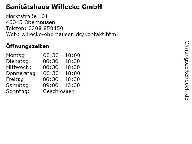 Sanitätshaus Willecke GmbH in Oberhausen: Adresse und Öffnungszeiten