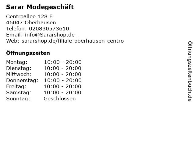 Sarar Modegeschäft in Oberhausen: Adresse und Öffnungszeiten