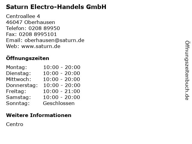 Saturn Electro-Handels GmbH in Oberhausen: Adresse und Öffnungszeiten