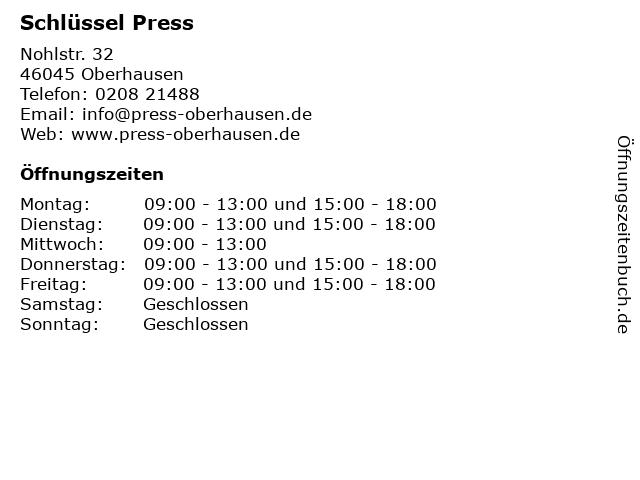 Schlüssel Press in Oberhausen: Adresse und Öffnungszeiten