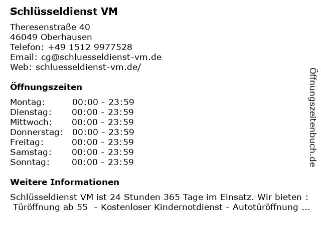 Schlüsseldienst VM in Oberhausen: Adresse und Öffnungszeiten