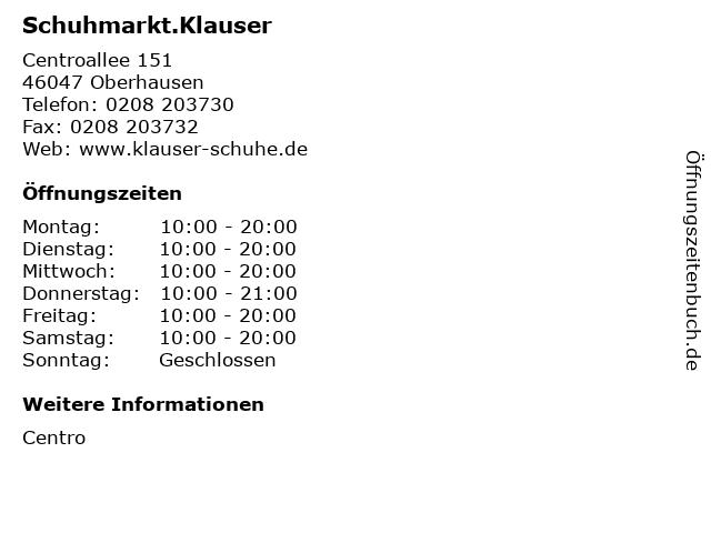 Schuhmarkt.Klauser in Oberhausen: Adresse und Öffnungszeiten