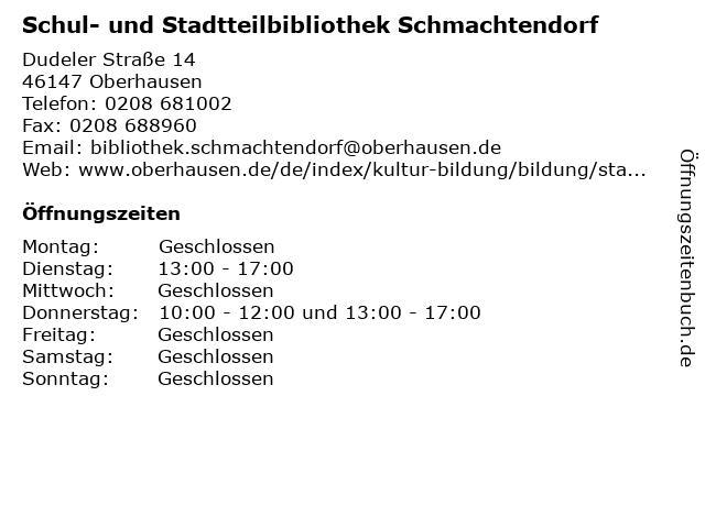 Schul- und Stadtteilbibliothek Schmachtendorf in Oberhausen: Adresse und Öffnungszeiten