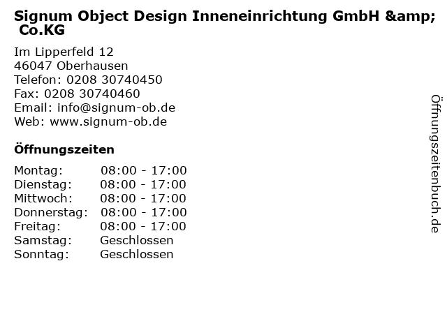 Signum Object Design Inneneinrichtung GmbH & Co.KG in Oberhausen: Adresse und Öffnungszeiten