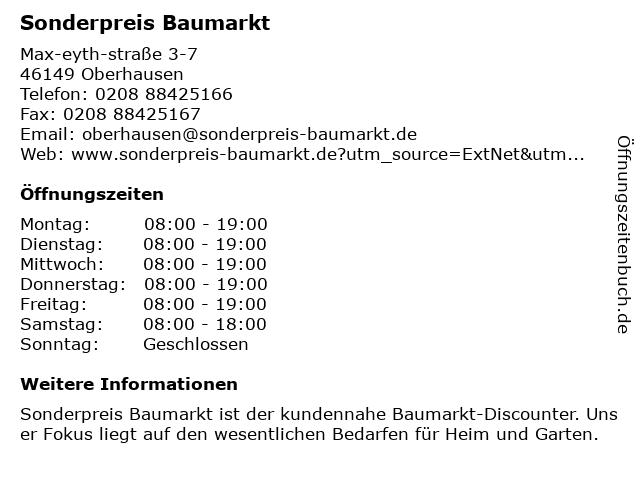 Sonderpreis Baumarkt in Oberhausen: Adresse und Öffnungszeiten