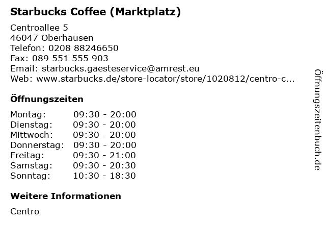 Starbucks Coffee (Marktplatz) in Oberhausen: Adresse und Öffnungszeiten