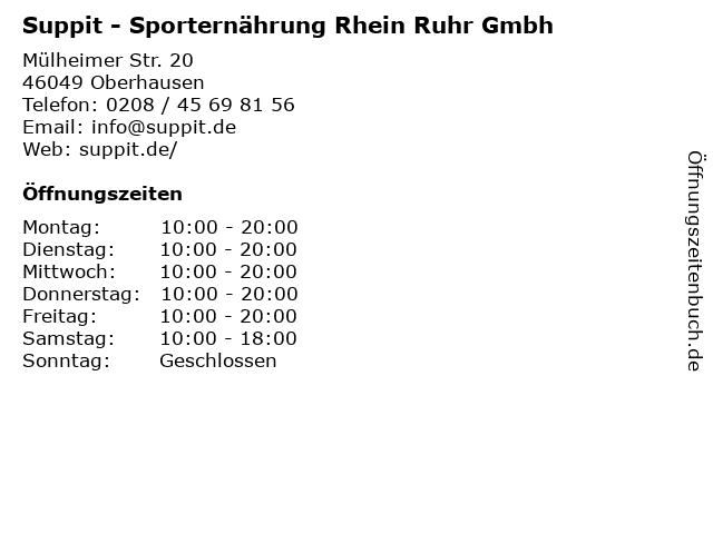 Suppit - Sporternährung Rhein Ruhr Gmbh in Oberhausen: Adresse und Öffnungszeiten