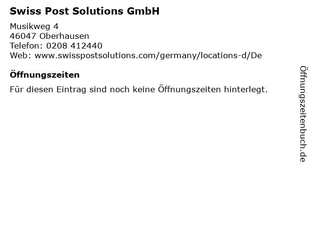 Swiss Post Solutions GmbH in Oberhausen: Adresse und Öffnungszeiten