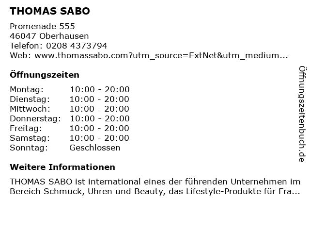 Thomas Sabo in Oberhausen: Adresse und Öffnungszeiten