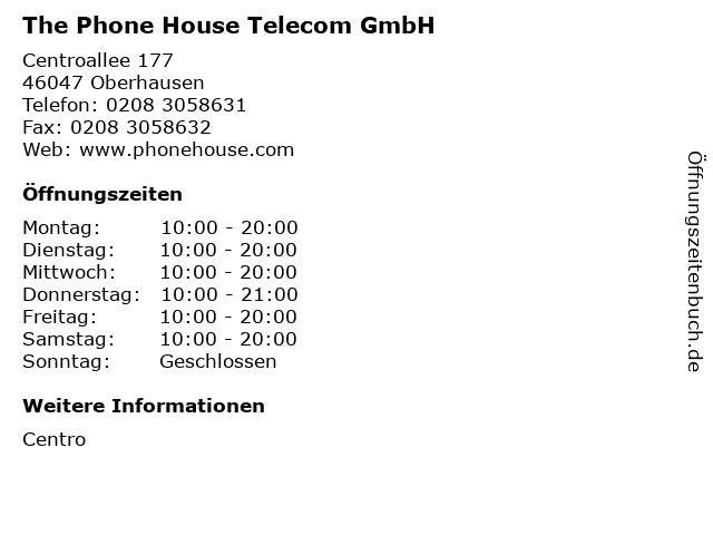 The Phone House Telecom GmbH in Oberhausen: Adresse und Öffnungszeiten