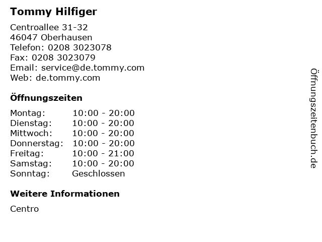 Tommy Hilfiger in Oberhausen: Adresse und Öffnungszeiten
