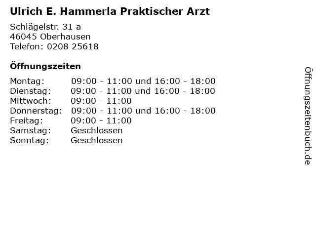 Ulrich E. Hammerla Praktischer Arzt in Oberhausen: Adresse und Öffnungszeiten