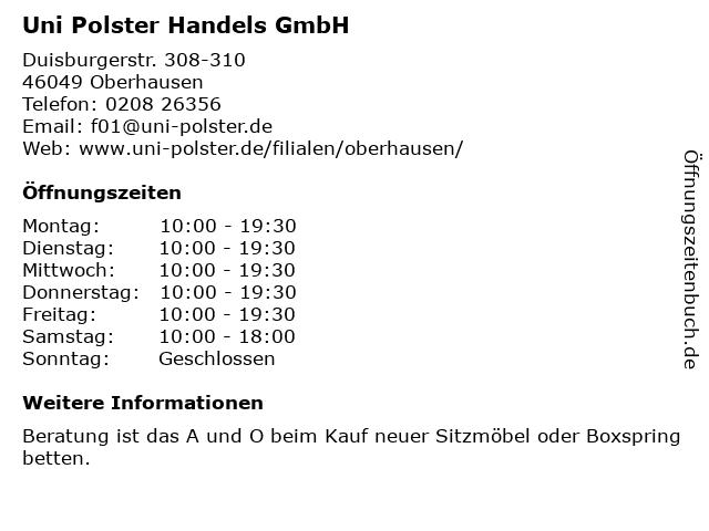 ᐅ öffnungszeiten Uni Polster Oberhausen Duisburger Str 308 310