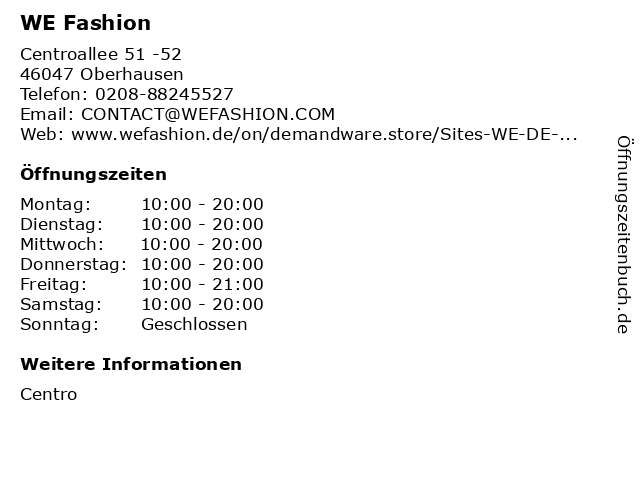 WE Fashion in Oberhausen: Adresse und Öffnungszeiten