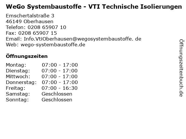 WeGo Systembaustoffe - VTI Technische Isolierungen in Oberhausen: Adresse und Öffnungszeiten