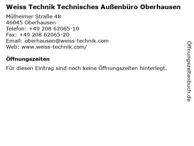 Weiss Technik Technisches Außenbüro Oberhausen in Oberhausen: Adresse und Öffnungszeiten