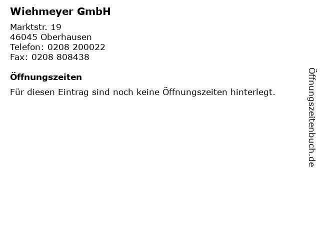 Wiehmeyer GmbH in Oberhausen: Adresse und Öffnungszeiten
