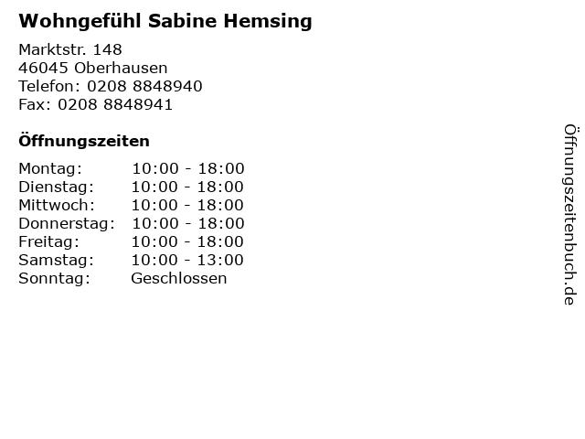 Wohngefühl Sabine Hemsing in Oberhausen: Adresse und Öffnungszeiten