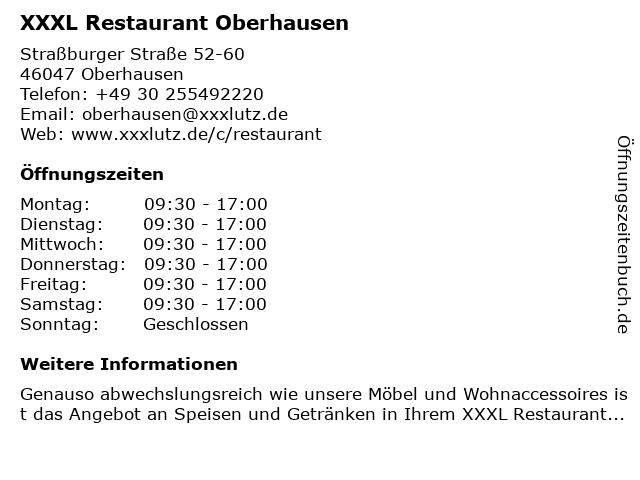 ᐅ öffnungszeiten Xxxl Restaurant Oberhausen Straßburger Straße