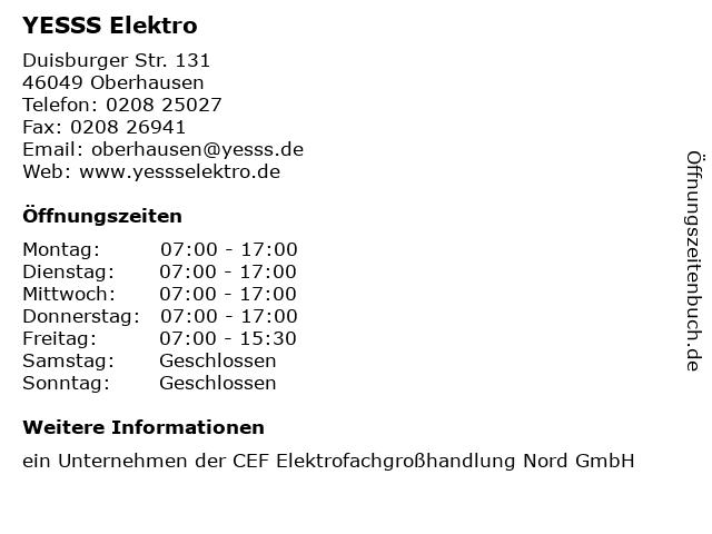 YESSS Elektro in Oberhausen: Adresse und Öffnungszeiten