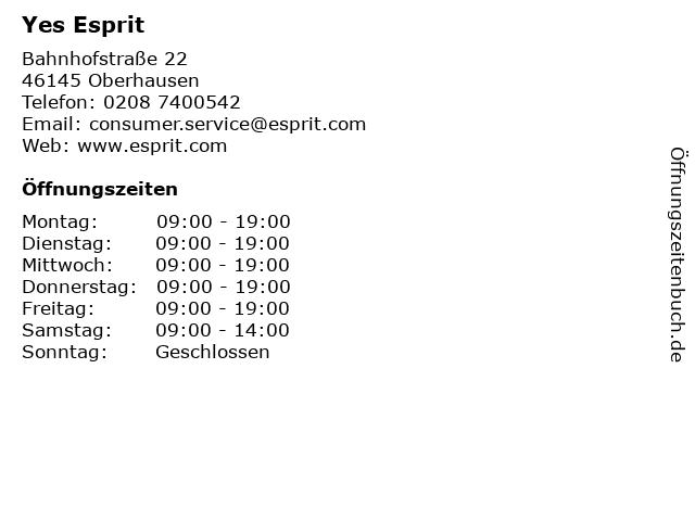 Yes Esprit in Oberhausen: Adresse und Öffnungszeiten