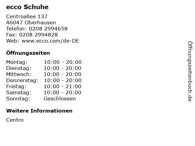 ecco Schuhe in Oberhausen: Adresse und Öffnungszeiten