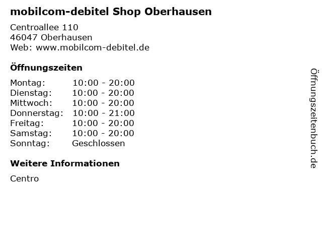 mobilcom-debitel Shop Oberhausen in Oberhausen: Adresse und Öffnungszeiten