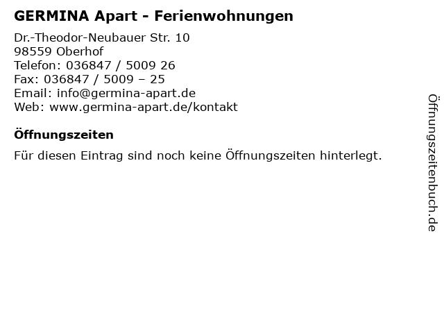 GERMINA Apart - Ferienwohnungen in Oberhof: Adresse und Öffnungszeiten