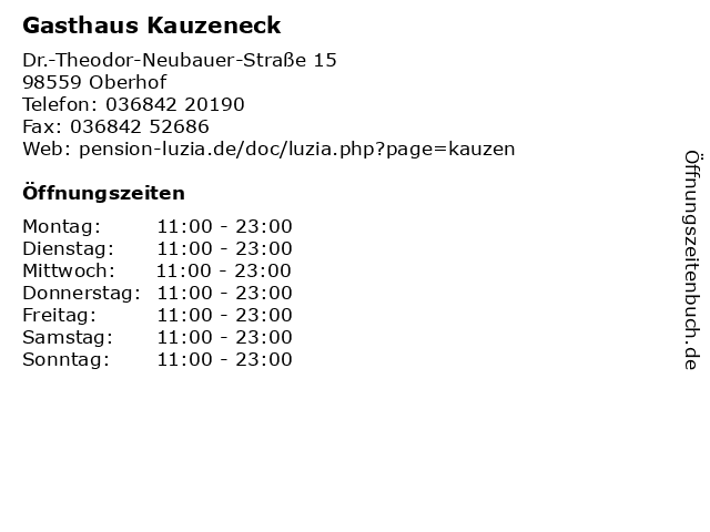 Gasthaus Kauzeneck in Oberhof: Adresse und Öffnungszeiten
