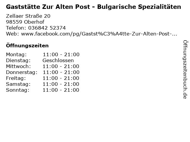 Gaststätte Zur Alten Post - Bulgarische Spezialitäten in Oberhof: Adresse und Öffnungszeiten