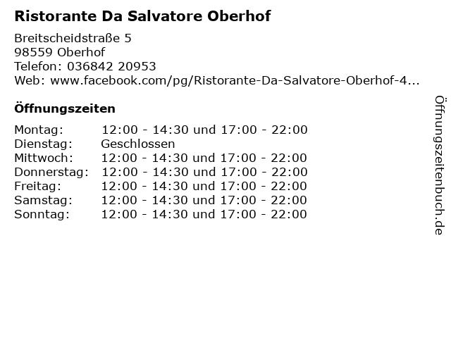 Ristorante Da Salvatore Oberhof in Oberhof: Adresse und Öffnungszeiten