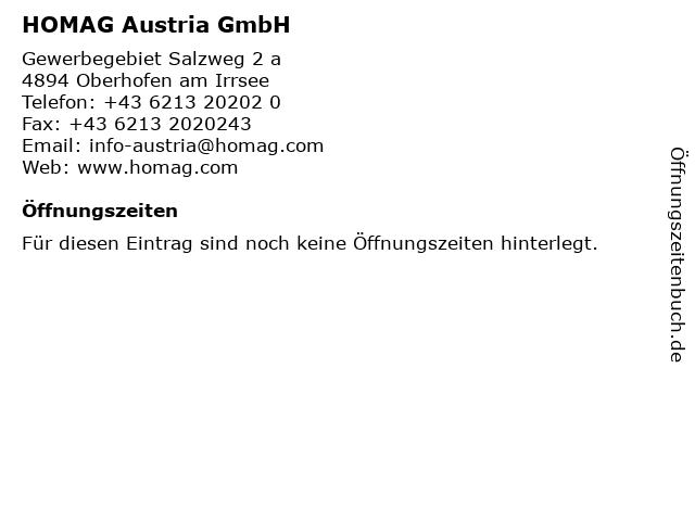 HOMAG Austria GmbH in Oberhofen am Irrsee: Adresse und Öffnungszeiten
