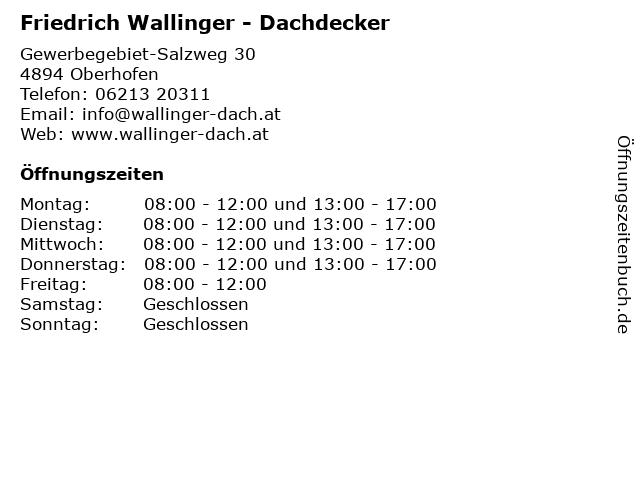 Friedrich Wallinger - Dachdecker in Oberhofen: Adresse und Öffnungszeiten