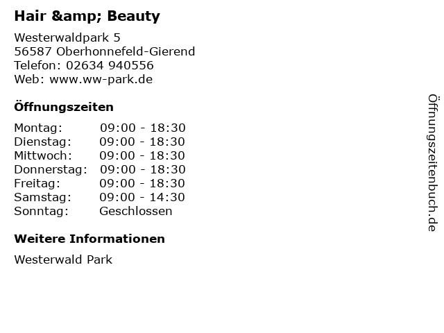 Hair & Beauty in Oberhonnefeld-Gierend: Adresse und Öffnungszeiten