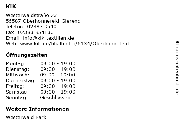 KiK Textilien & Non-Food GmbH in Oberhonnefeld-Gierend: Adresse und Öffnungszeiten