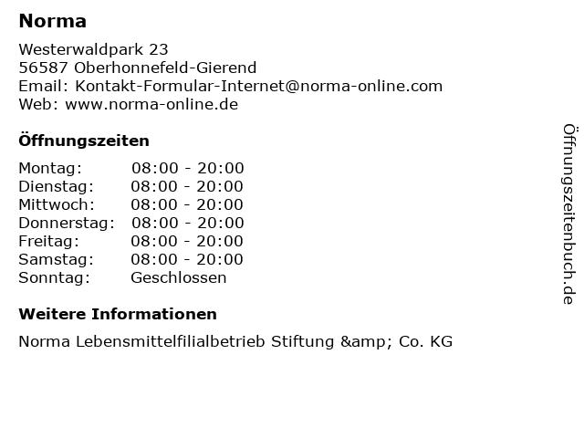 Norma Lebensmittelfilialbetrieb Stiftung & Co. KG in Oberhonnefeld-Gierend: Adresse und Öffnungszeiten