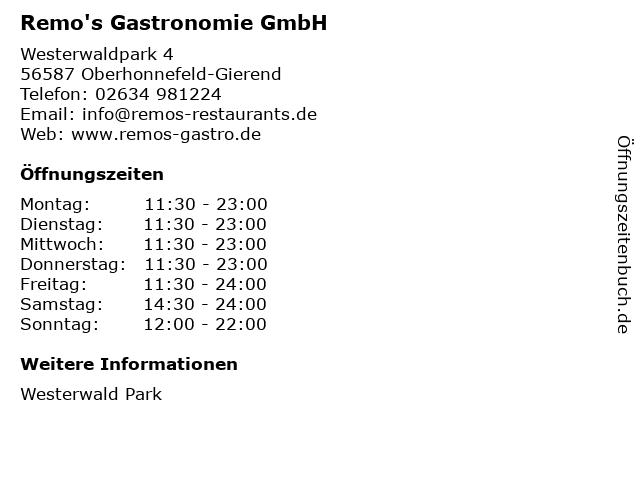 Remo's Gastronomie GmbH in Oberhonnefeld-Gierend: Adresse und Öffnungszeiten