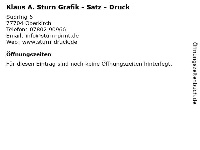 Klaus A. Sturn Grafik - Satz - Druck in Oberkirch: Adresse und Öffnungszeiten